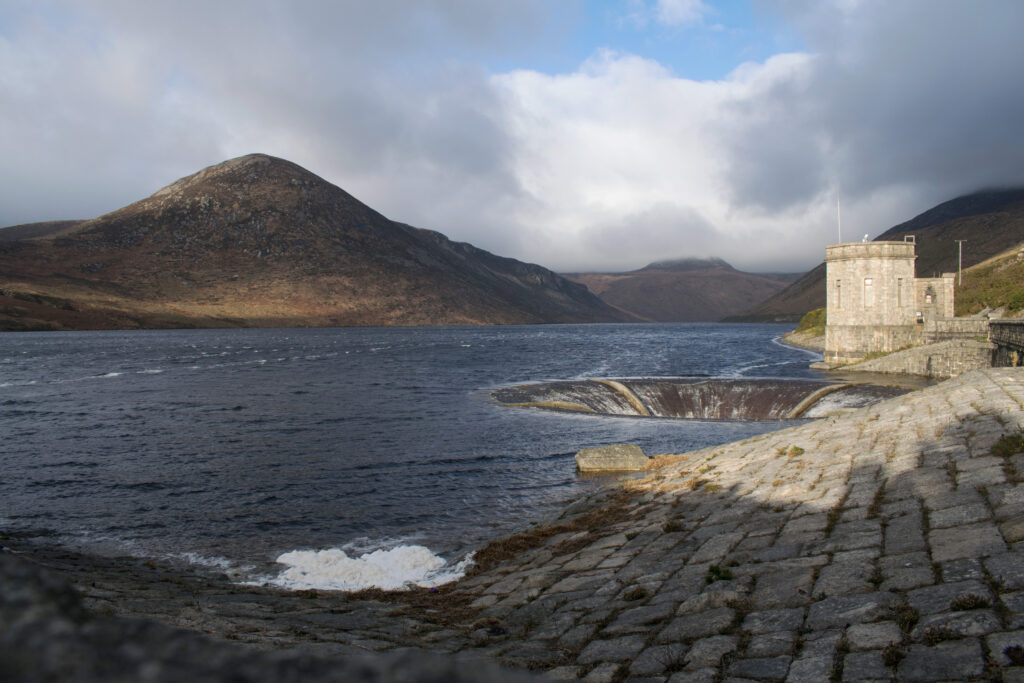 Silent Valley Dam looking at the Mourne Mountains