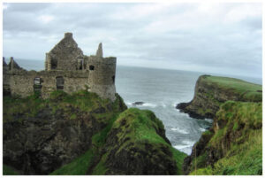 dunluce castle looking out over the the sea towards scotland